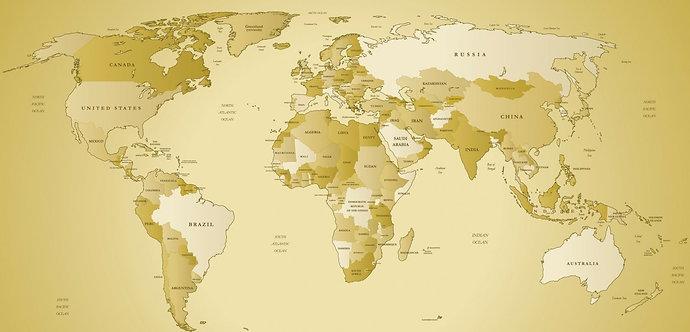 Карта мира в песочных тонах с названиями стран и океанов