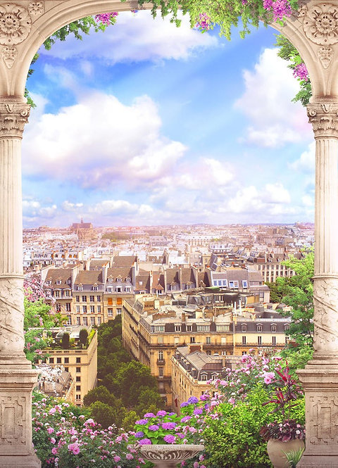 Фреска. Арка с балюстрадой. Цветы. Прекрасный вид на Париж
