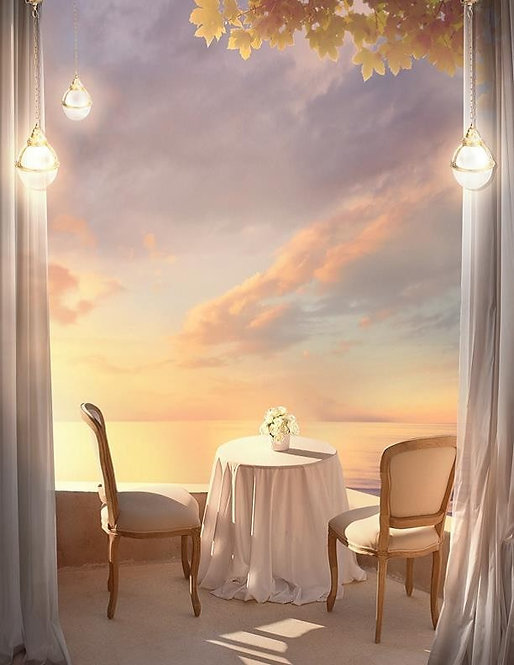 Фреска. Балкон. Терраса. Белые шторы. Фонари. Кафе. Рассвет