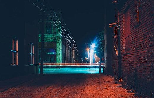 Темный переулок ночью в Гановере - Пенсильвания