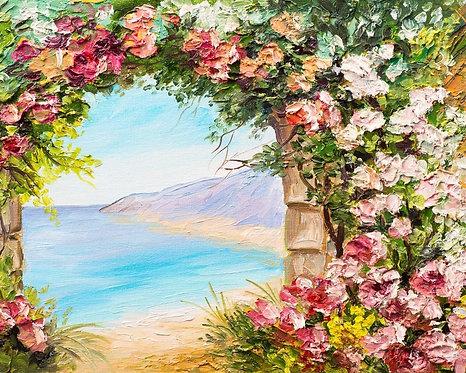 Живописный пейзаж с аркой и цветами у моря