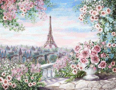Фреска. Старый балкон. Терраса. Балюстрада. Цветы. Вид на Эйфелеву башню