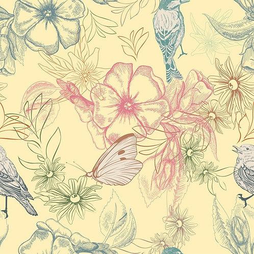 Весенний узор с бабочками и птицами на цветах