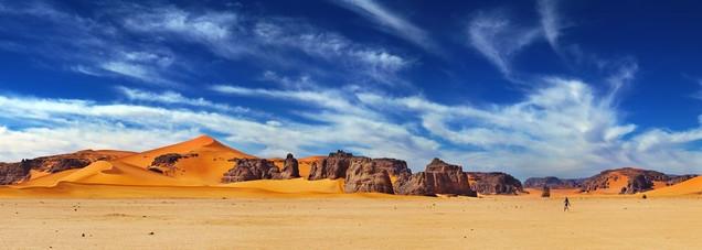 Песчаные дюны и скалы пустыни Сахара - Алжир | #93440809