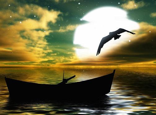 Живописный ночной морской пейзаж