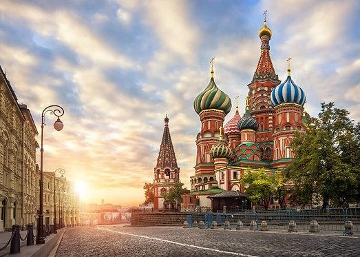 Храм Василия Блаженного на Красной площади в Москве под утренним небом