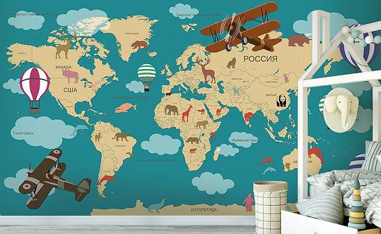 Фотообои. Детская карта мира на русском. Коллекция BIG LAND