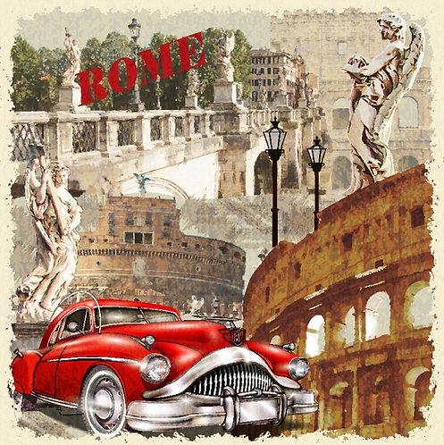 Коллаж с римскими сюжетами в винтажном стиле