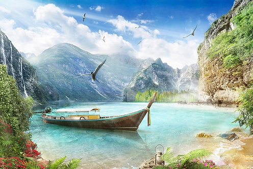 Фотообои. Фрески. Картины. Морской пейзаж. Залив. Лодка. Пляж. Горы. Чайки
