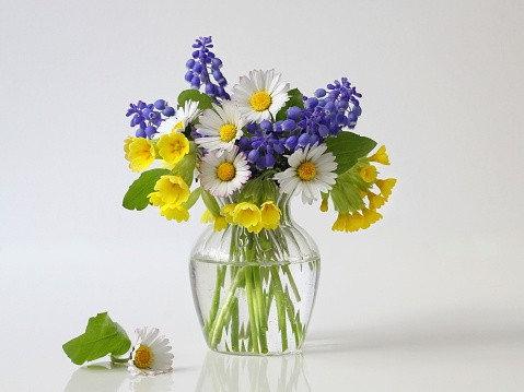 Букет весенних ярких цветов и ромашек в вазе