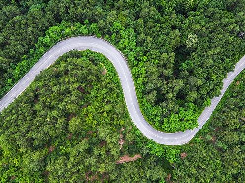 Вид сверху на горную дорогу через летний лес