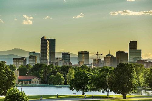 Фотообои. Фрески. Картины. Городской парк. Закат. Природа и пейзажи. Денвер. США