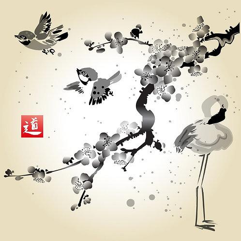 Ветка сакуры, синицы и фламинго