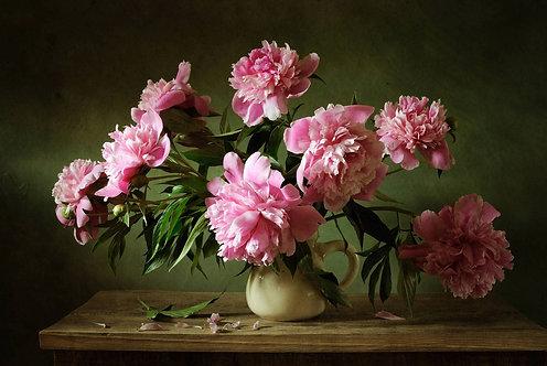 Натюрморт с розовыми пионами в белом кувшине