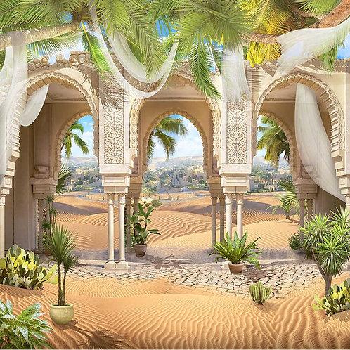 Фреска. Три красивые восточные арки. Барханы. Пальмы и кактусы
