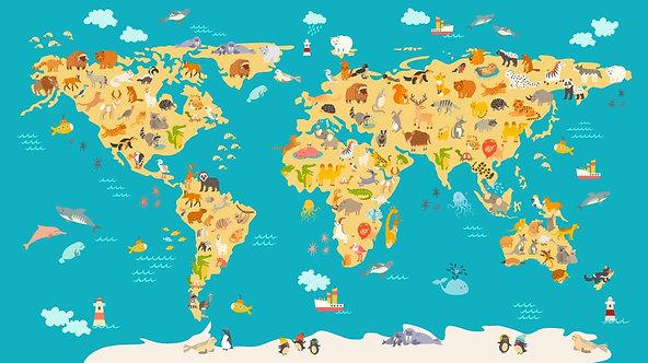 Карта мира с животными для детей и малышей