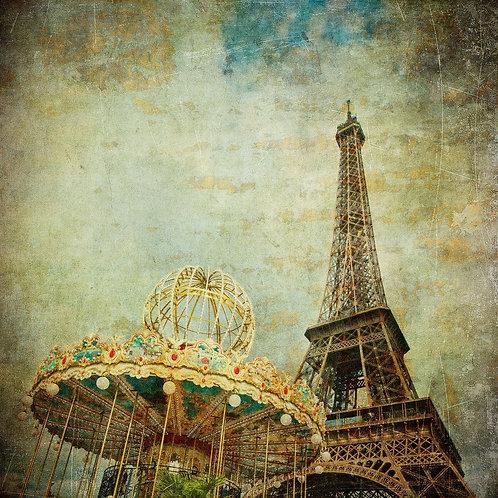 Винтажный вид Эйфелевой башни в Париже