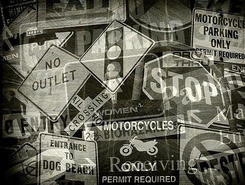 Винтажный фотоколлаж дорожных знаков