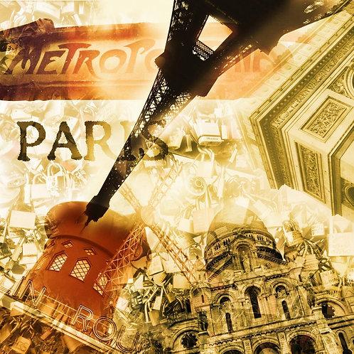Коллаж с различными достопримечательностями Парижа