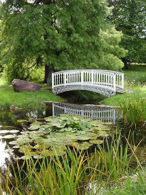 Старый белый мост в парке