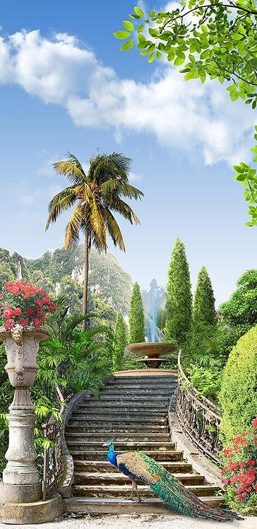 Фотообои. Фрески. Картины. Цветущий сад. Каменные ступни. Фонтан. Павлин