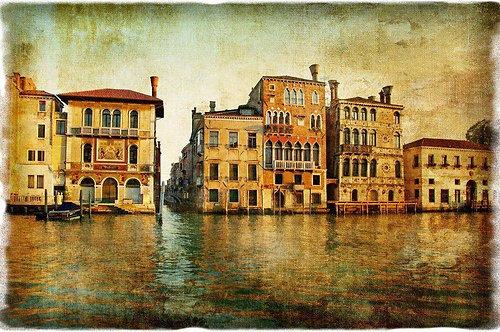 Старая красивая Венеция в ретро-стиле