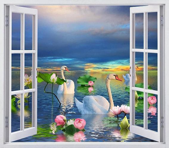 Вид из открытого окна на лебедей на озере с лилиями