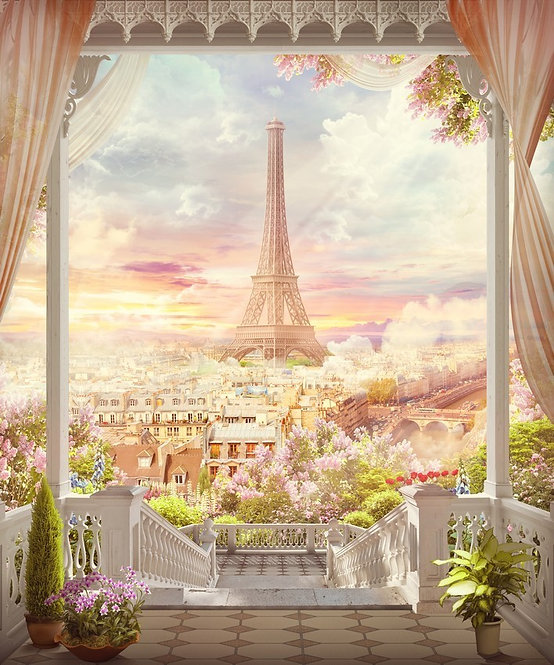 Фреска. Балкон. Терраса. Цветы. Балюстрада. Ступени. Эйфелева башня. Париж