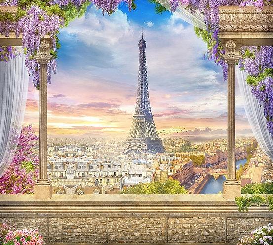 Фреска. Балкон. Терраса. Колонны. Цветы. Вид на Париж и Эйфелеву башню