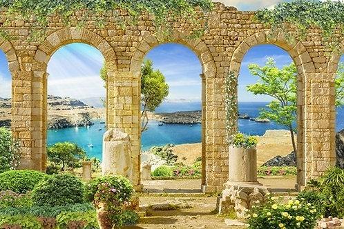 Фреска. Античная каменная арка. Вид на море. Греция
