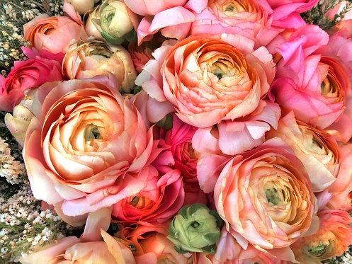 Букет кремовых и розовых пионов