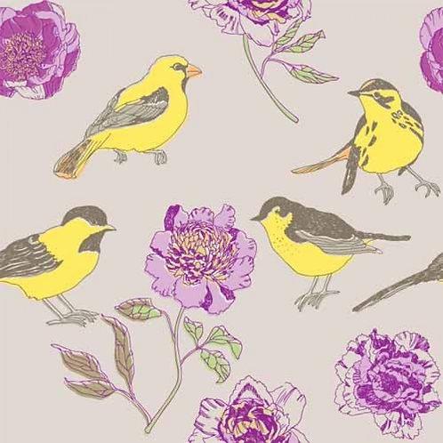 Пионы и желтые птицы