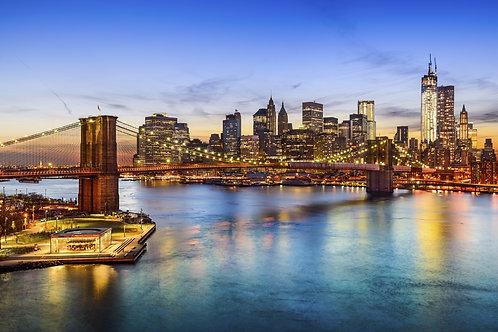 Вид на реку Гудзон и Бруклинский мост в Нью-Йорке