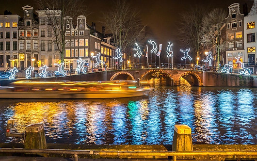 Рождественское освещение на Амстердамском канале