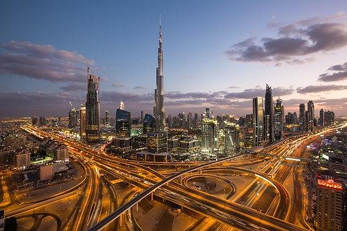 Вид на Бурдж-Халифа и небоскребы в Дубае