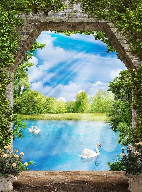 Графический пейзаж. Каменная арка и пруд с лебедями