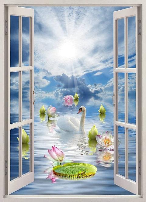 Вид из открытого окна на плавающего между лилиями лебедя