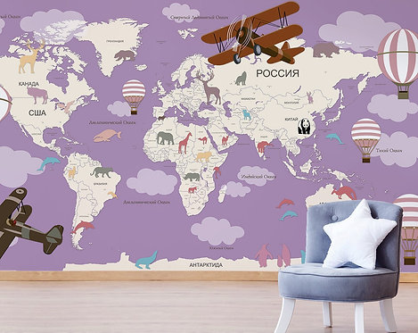 Обои. Карта мира для детей. Коллекция BIG LAND