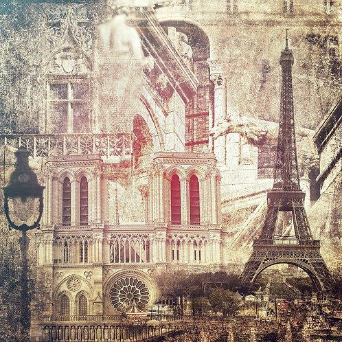 Достопримечательности и архитектура Парижа в винтажном стиле