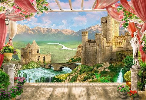 Фреска. Терраса. Цветы. Река. Старый замок. Горы