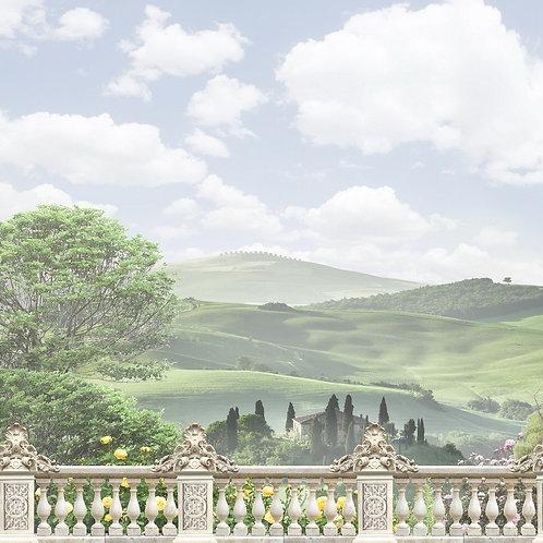Фреска. Балкон. Терраса. Балюстрада. Вид на природу. Панорама. Италия