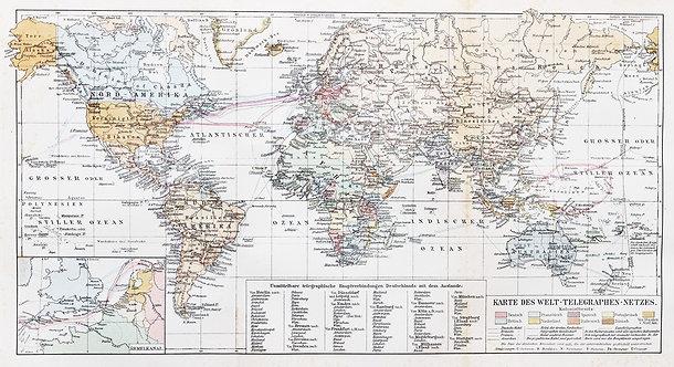 Старая карта мира с легендой и обозначением телеграфных сетей