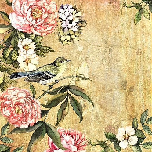 Винтажный акварельный фон с птицей и пионами