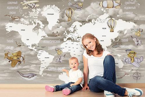 Фотообои. Карта мира для детей. Коллекция FUN FLIGHT
