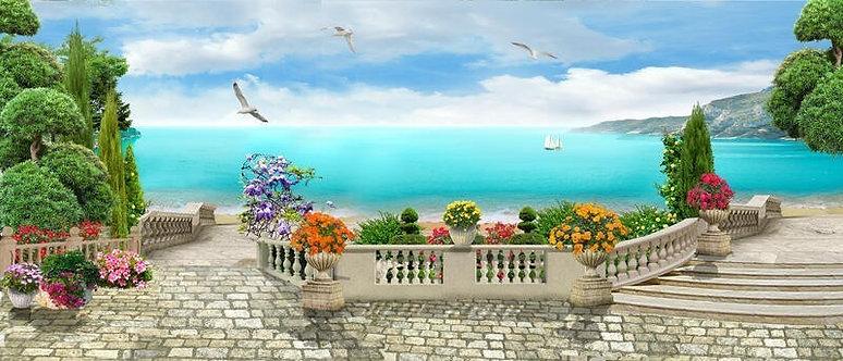 Фреска. Цветущий сад. Балюстрада. Каменная лестница. Чайки. Вид на море