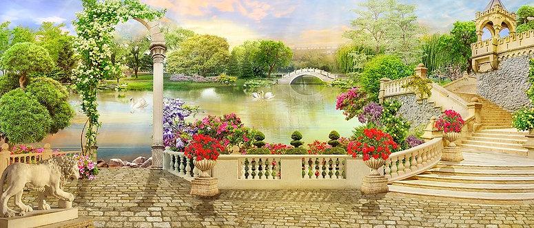 Фреска. Цветочная терраса. Арка. Белые лебеди. Вид на озеро и парк