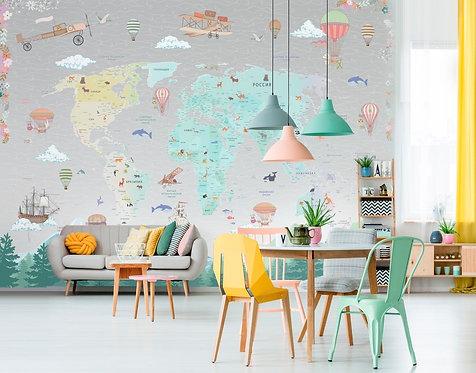 Фотообои с картой мира в детскую. Коллекция CAMILA