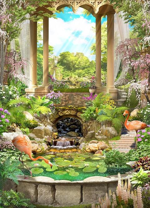 Винтажная арка с беседкой и фламинго у водопада в цветущем саду