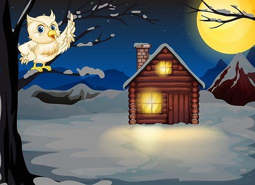 Сказочный домик и сова на ветке дерева