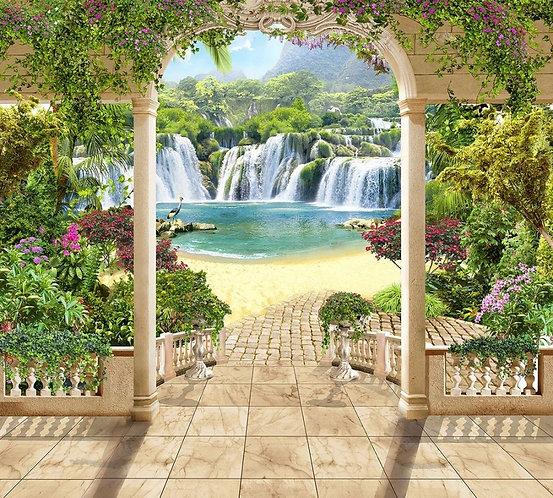 Фреска. Арка. Терраса с видом на водопад. Спуск к озеру. Италия